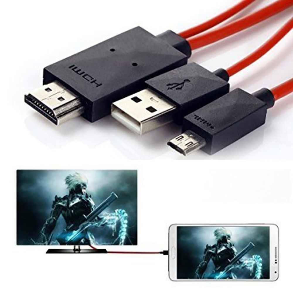 MHL Micro USB untuk HDMI 1080P HD TV Video AV Kabel Adaptor 11 Pin untuk Ponsel Android untuk Samsung s5 S4 Micro USB 2.0 Kabel Adaptor