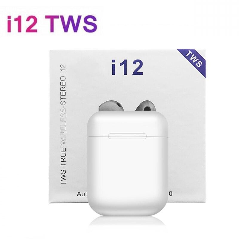 O Transporte da gota TWS Earbud fone de Ouvido Sem Fio Portátil Bluetooth 5.0 Fone De Ouvido Invisível para Todos Os Smart Phone I12 Max Tws para Iphone