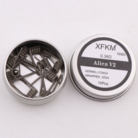 Nuevo XFKM NI80 A1 SS316L 10 unids/lote precompilados bobina alienígena V2 de bobinas para calefacción Alambre de resistencia para RDA RDTA DIY atomizador