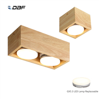 [DBF]Nordic Wood Square LED Surface Mount Downlight with Replaceable GX5.3 Lamp 7W 9W 12W LED Spot Light for Living room Bedroom