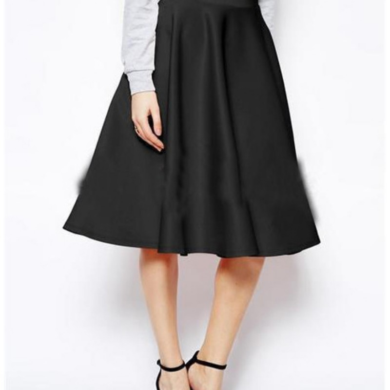 Women Summer High Waist Solid Color Skirt Pleated Swing Knee-Length Skirts Red Pink Black Fashion Stretch Skirt Women 2020