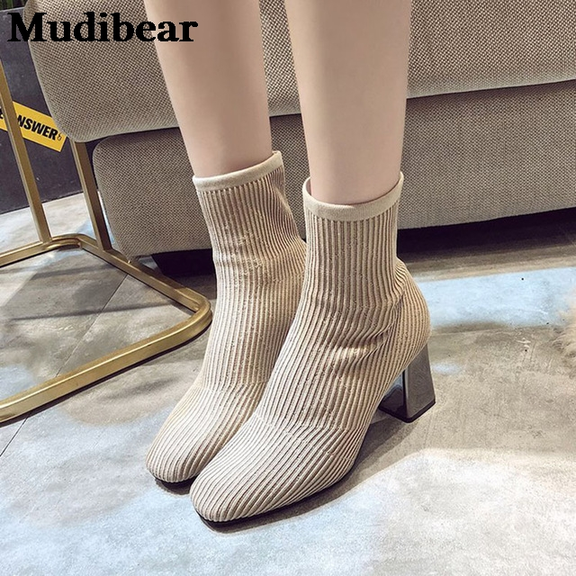 Купить новинка 2020 женские вязаные ботинки носки mudibear на высоком