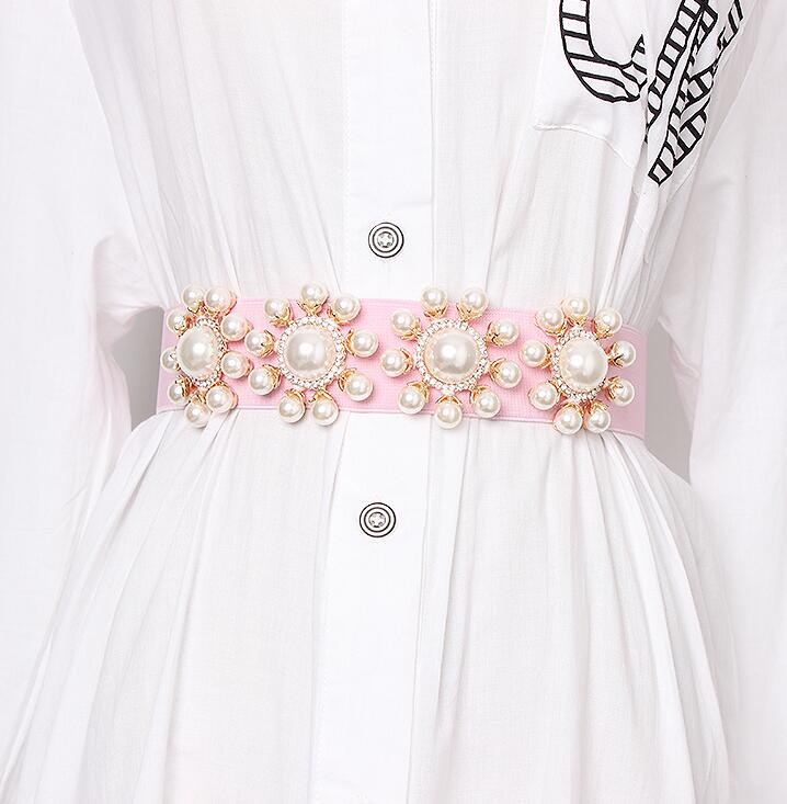 Women's Runway Fashion Pearl Beaded Elastic Cummerbunds Female Dress Corsets Waistband Belts Decoration Wide Belt R1917