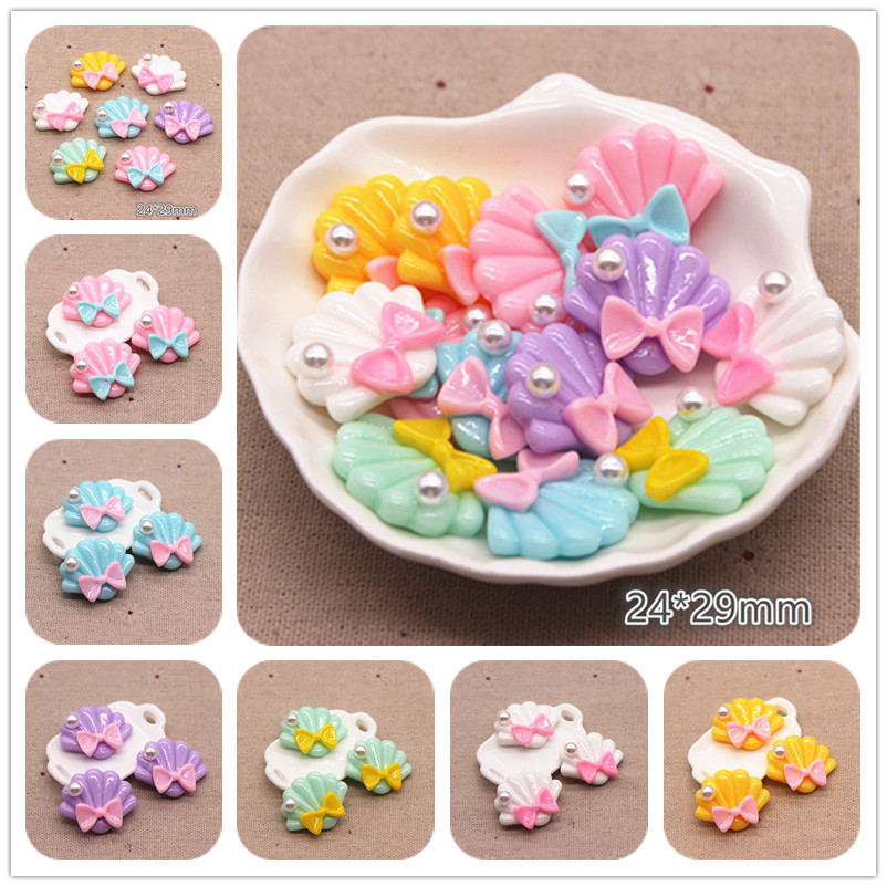 10pcs 24*29mm Resin ABS Pearl Seashell With Bow Flat Back Cabochon DIY Phone/Craft Scrapbooking