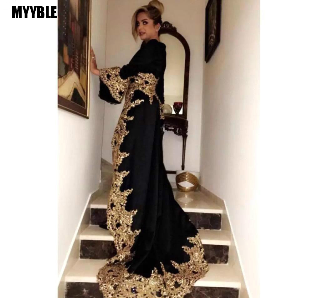 MYYBLE Black V Neck Long Sleeves Evening Dresses 2020 New Arrival Gold Appliques Holiday Wear Formal Party Prom Gowns Plus Size