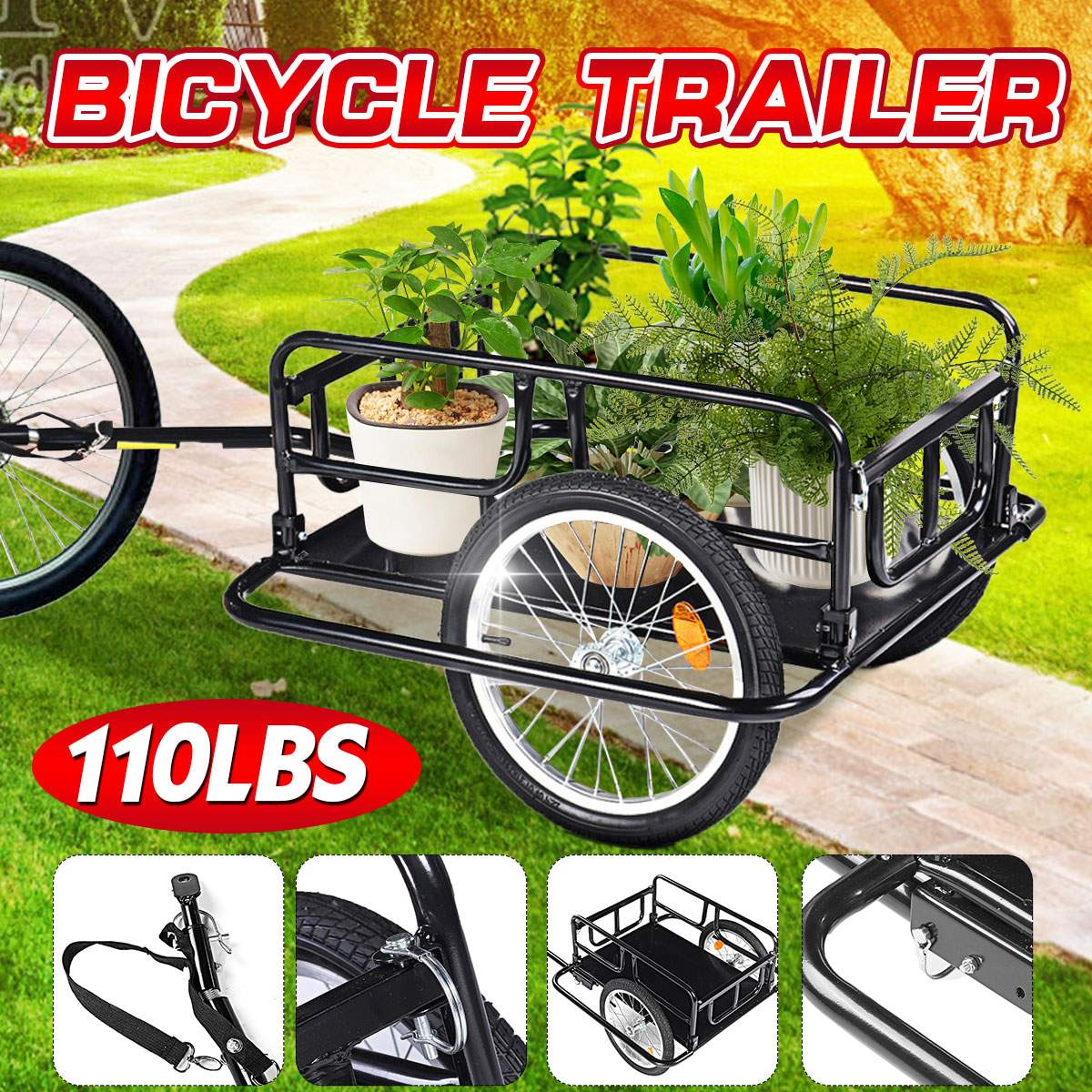 50Inch Folding Bicycle Cargo Trailer Steel Frame Luggage Cart Mountain Bike Wagon Extra  Storage Carrier Double Wheel 50kg load