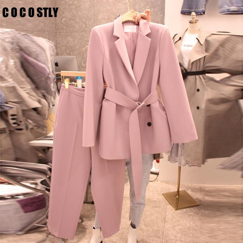 Korean 2020 Spring Autumn Suit Women Lace Up Pant Suit Notched Blazer Set & Pant Office Wear Pants Suit Sets