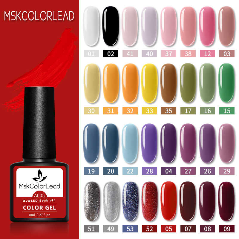 Msk Warna Memimpin Kuku Gel Polandia 60 Warna Kuku Gel 8ML untuk Baking Kuku Seni Manikur Semi Permanen Top mantel UV LED Gel Varnish