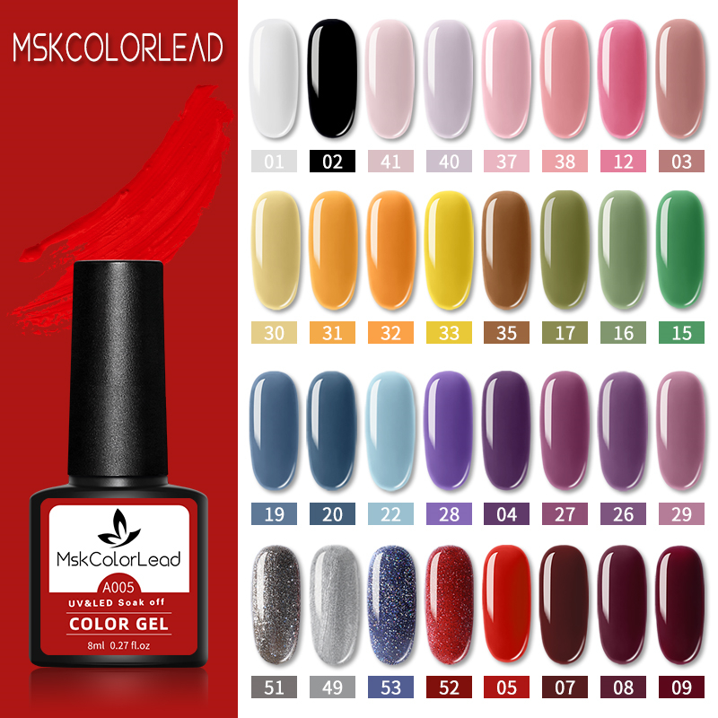 Msk Color Lead Nail Gel Polish 60 Colors Nail Gel 8ML For Baking Nail Art Manicure Semi Permanent Top Coat UV LED Gel Varnish()