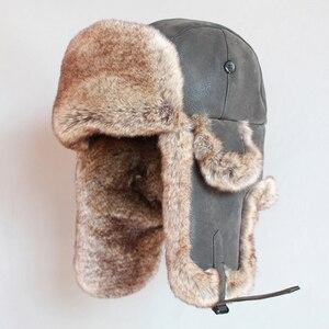 Image 3 - Winter Bomber Hoeden Vintage Russische Ushanka Caps Mannen Vrouwen Faux Fur Trapper Hoed Pu Leer Wind Proof Oorklep Trooper Hoeden