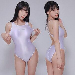 Image 3 - LEOHEX 2020 Sexy Leotards Satin Glossy Bodysuit High Cut One Piece Swimwear Women Glitter Shiny Bathing Suits Female Swimsuit
