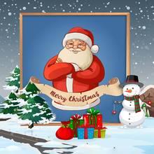 DIY Diamond Painting Christmas Santa Claus Elk Cartoon Round Embroidery Decorations for Home