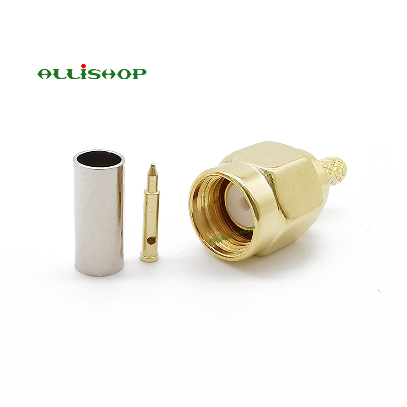 100 pcs SMA Connector SMA Male Plug Solder Crimp RG316 RG174 LMR100 Cable Straight Wire Connector