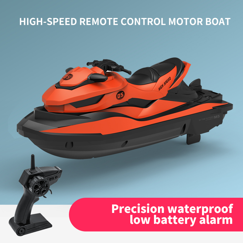 2020 New M5 Mini RC Boat 2.4G 50 Meters Remote Control Distance Summer Water Splashing Electric Motor Boat Remote Control Boat