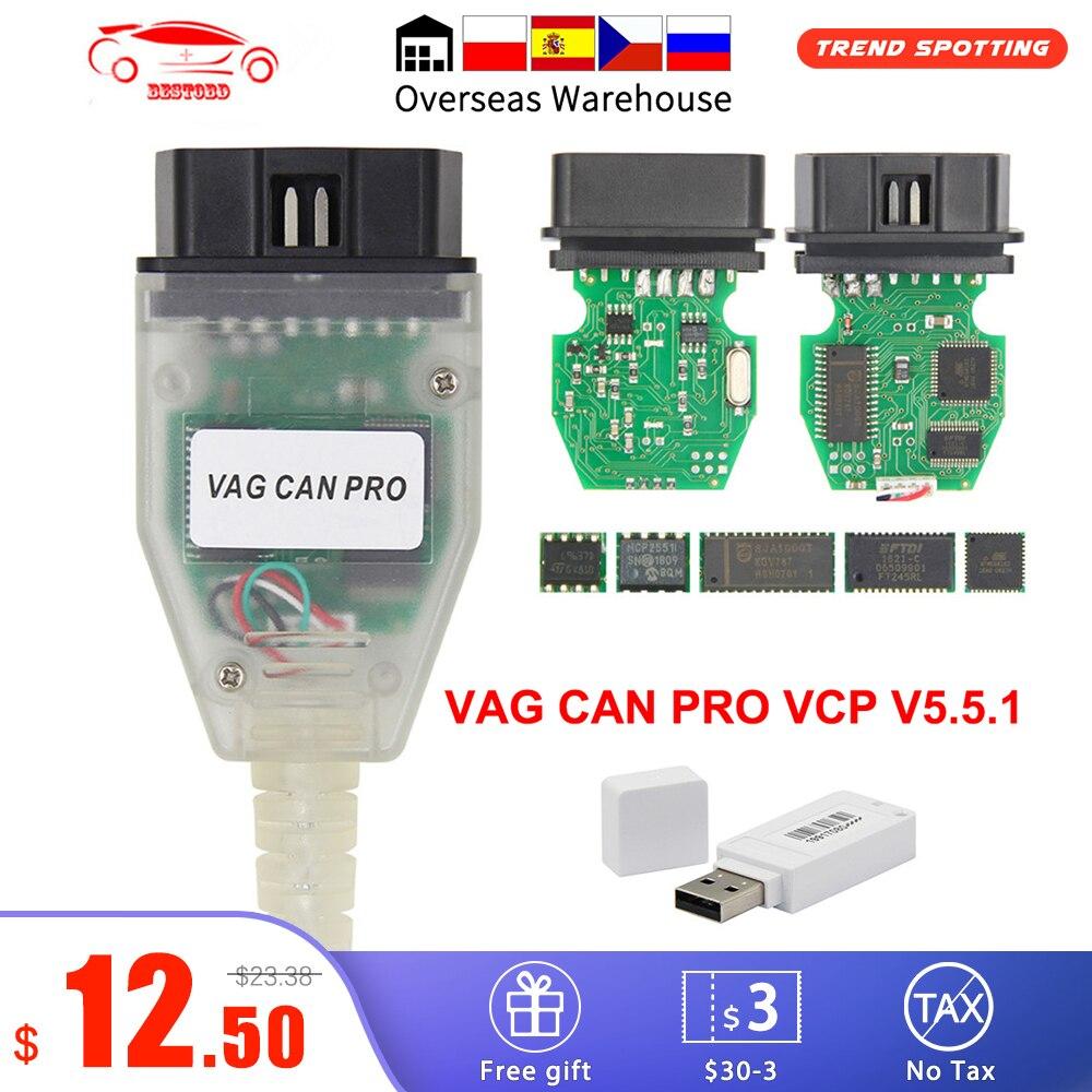 VAG CAN PRO V5.5.1 с чипом FTDI FT245RL, VCP OBD2 Диагностический интерфейс, USB-кабель с поддержкой Can Bus UDS K Line, работает с AUDI/VW