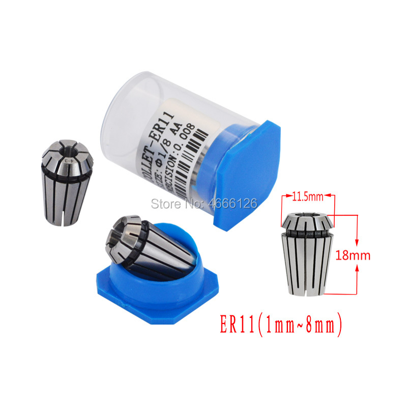 10pcs AA ER11 1-<font><b>8mm</b></font> 1/4 1/8 <font><b>collet</b></font> <font><b>chuck</b></font> set image