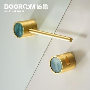 Dooroom Brass Furniture Handles Latch Lock Nordic Wardrobe Dresser Cupboard Cabinet Pulls Knobs(China)