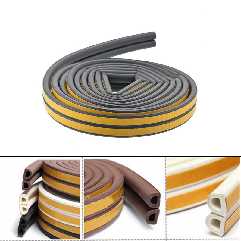 3.2M Long D Shape Car Door Window Self Adhesive Rubber Seal Weather Strip Black