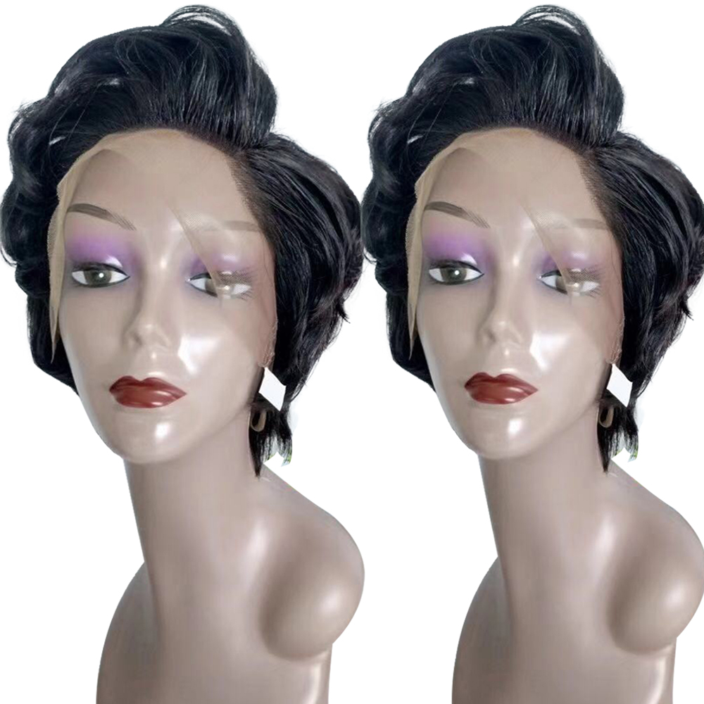 Perruque coupe lutin 13x4 courte dentelle avant perruques de cheveux humains pré-cueillies avec des cheveux de bébé dentelle frontale perruque cheveux brésiliens livraison gratuite