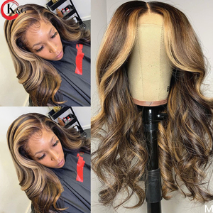 KungGang Highlight 13*4 13*6 Lace Front Human Hair Brazilian Middle Ratio Deep Part Lace Wavy Wigs 130% 150% Density(China)