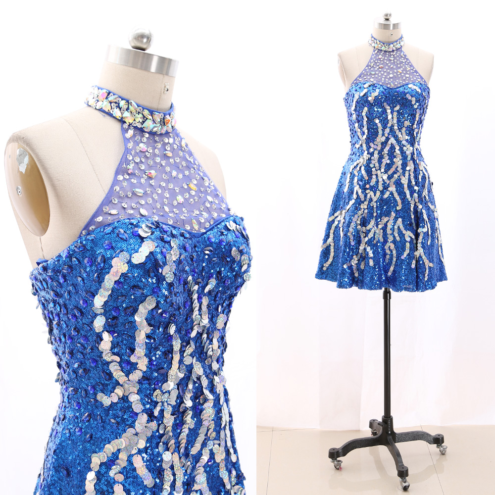 MACloth Blue Short Halter Knee-Length Short Crystal Tulle Prom Dresses Dress L 267707 Clearance