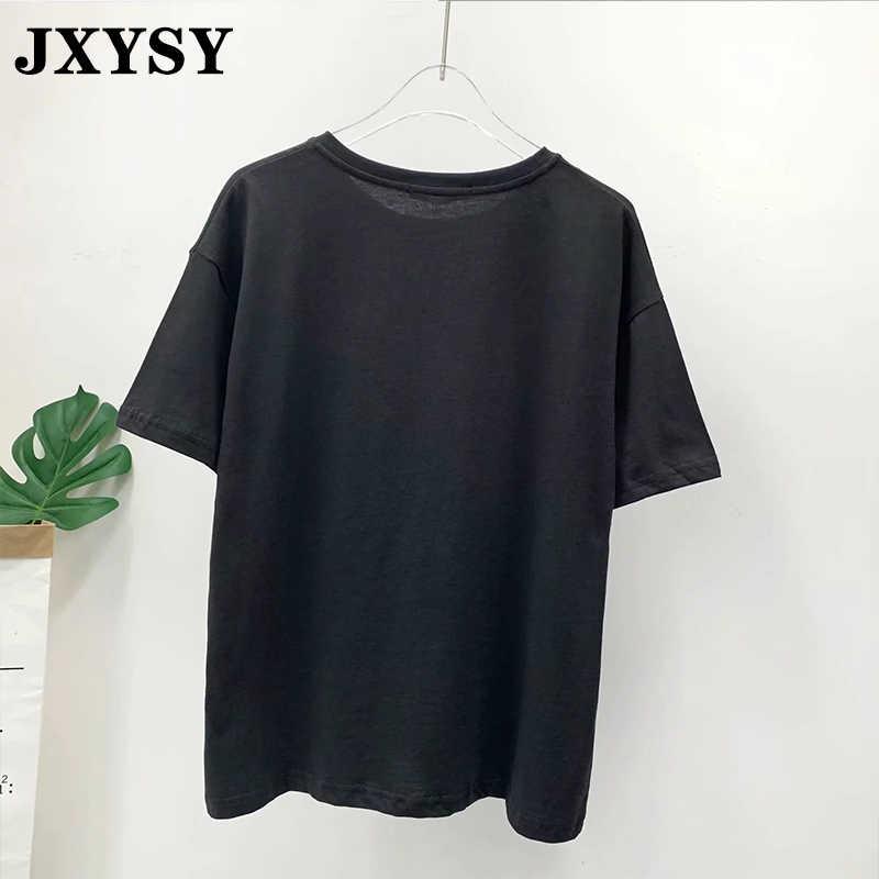 JXYSY sommer t-shirt frauen kleidung 2020 harajuku high street vintage cartoon lion king druck oansatz t-shirt weibliche tops plus größe