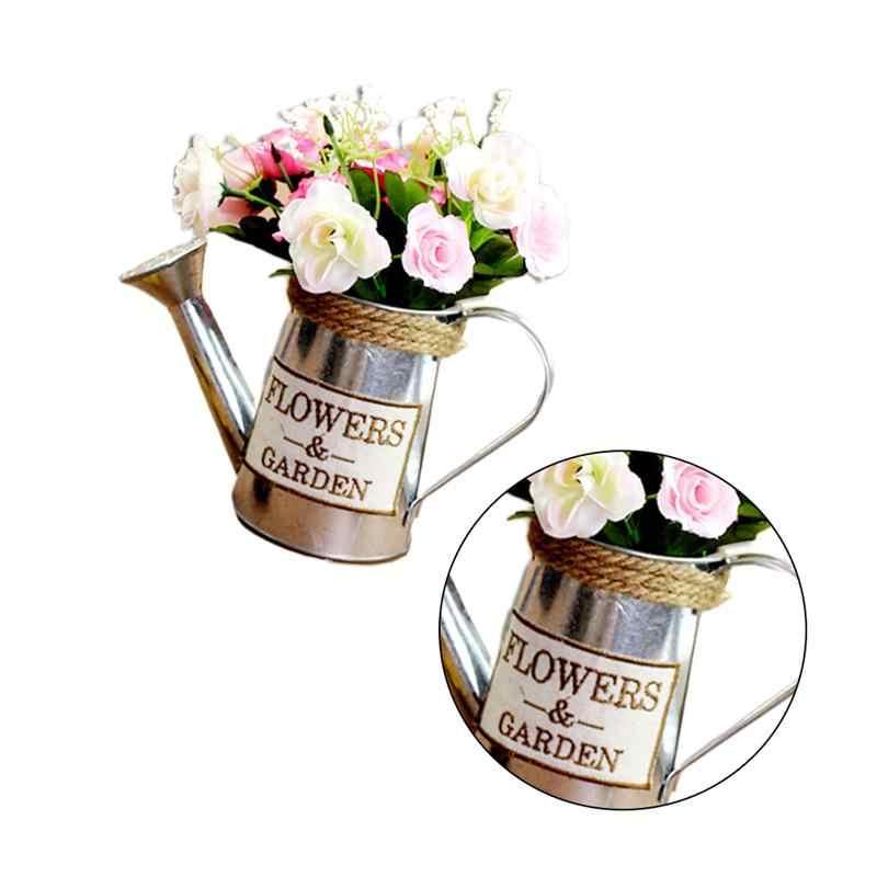 Blumentopf Blumentopf Seedsplants Bewässerung Wasserkocher Geformte Vase Eisen Blume Anordnung Werkzeug Vintage Blumentopf Silber