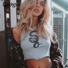 Cropped Tops Tank-Top Festival Women Clothes Vest Rose-Printed Streetwear Darlingaga