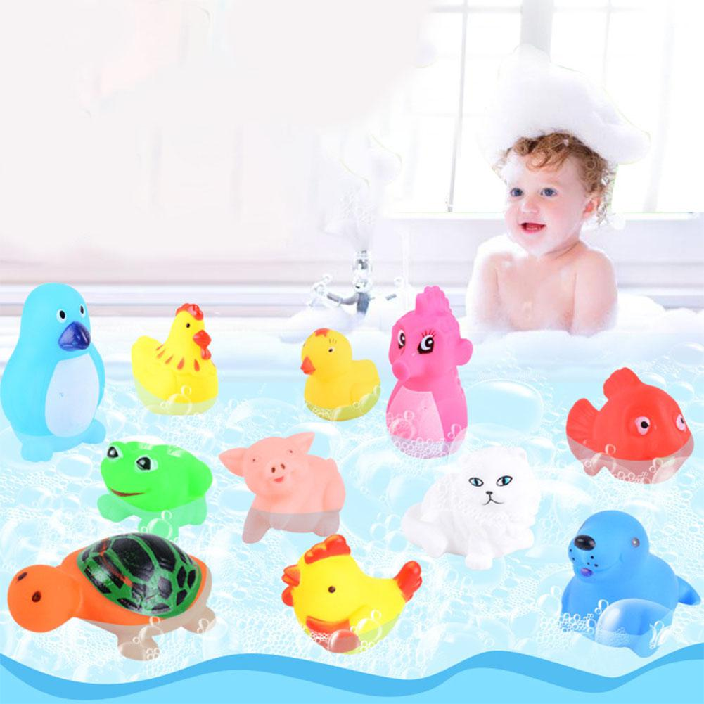 Children's Swimming Bathing Shower Water Toys Squeezing Squeaking Vocal Animals Duck Giraffe Sea Lion Toy