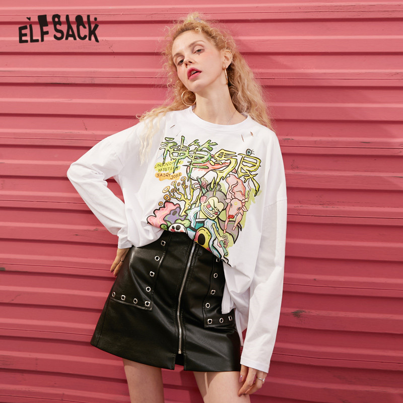 ELFSACK White Solid Graphic Print Korean Style Women T Shirts 2020 Spring New Gray Long Sleeve Loose Casual Ladies Daily Tops