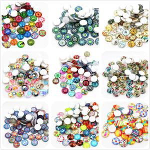 50pcs/Lot 12mm Colorful Fashion Photo Glass Cabochons Mixed Color Cabochons For Bracelet earrings necklace Bases Settings