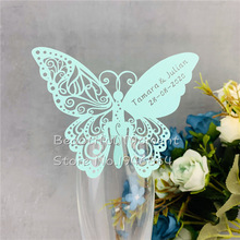 60 pieces/lot Butterfly Laser Cut Paper Place Card / Escort Card / Cup Card/ Wine Glass Card Custom For Wedding Party Decoration