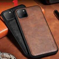 X-level-Funda de cuero PU para iPhone 11 Pro, funda trasera de silicona suave con borde a prueba de golpes para iPhone 11 Pro Max
