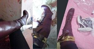 Image 5 - Disfraces de halloween para mujer, botas de traje de violet evergarden, zapatos de cosplay, Anime japonés, adultos, fantasía, zapato de vestir, 2019