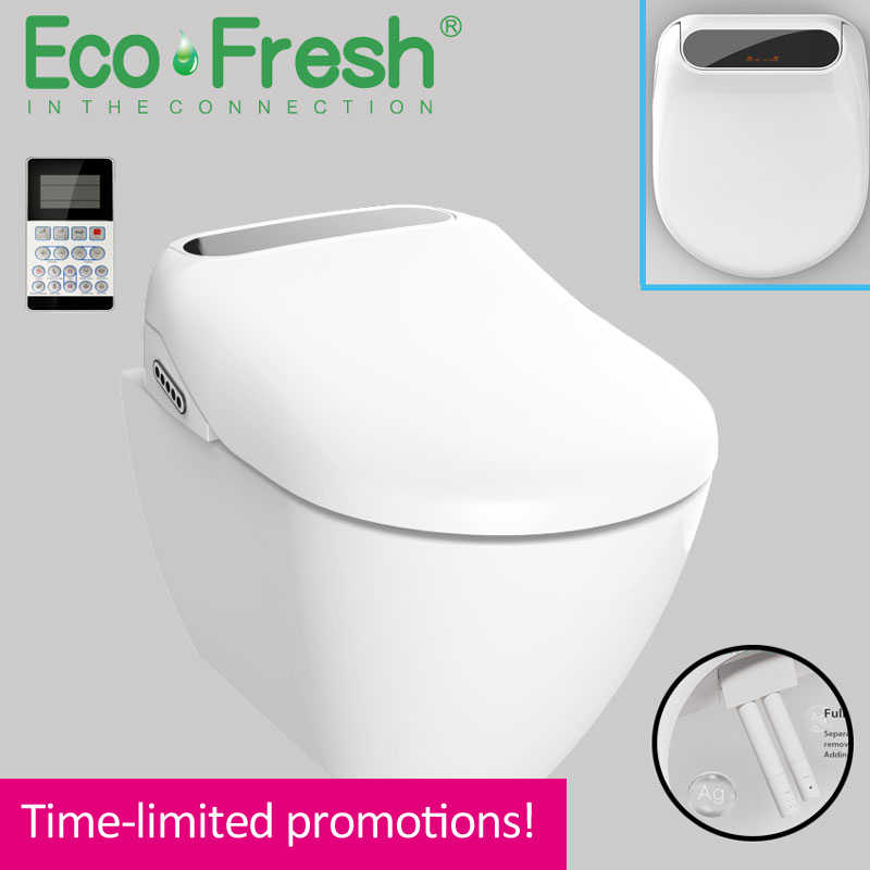 Ecofresh Led Wc Lighted Smart Elongated U Toilet Seat Electric Bidet Cover Heated Led Light Wash Dry Massage Woman Children Old Aliexpress
