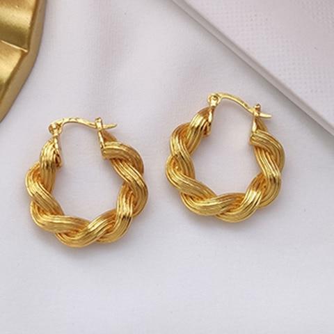 Brinco para Mulheres Marca de Luxo Chunky Grosso Torção Ouro Hoop Vintage Clássico Jóias