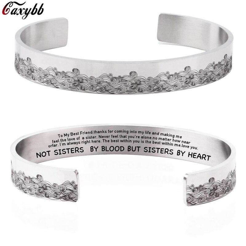 10 мм не сестер по крови Выгравированная манжета браслет широкий браслет семья друг браслеты подарок для женщин Девушка ювелирные изделия б...