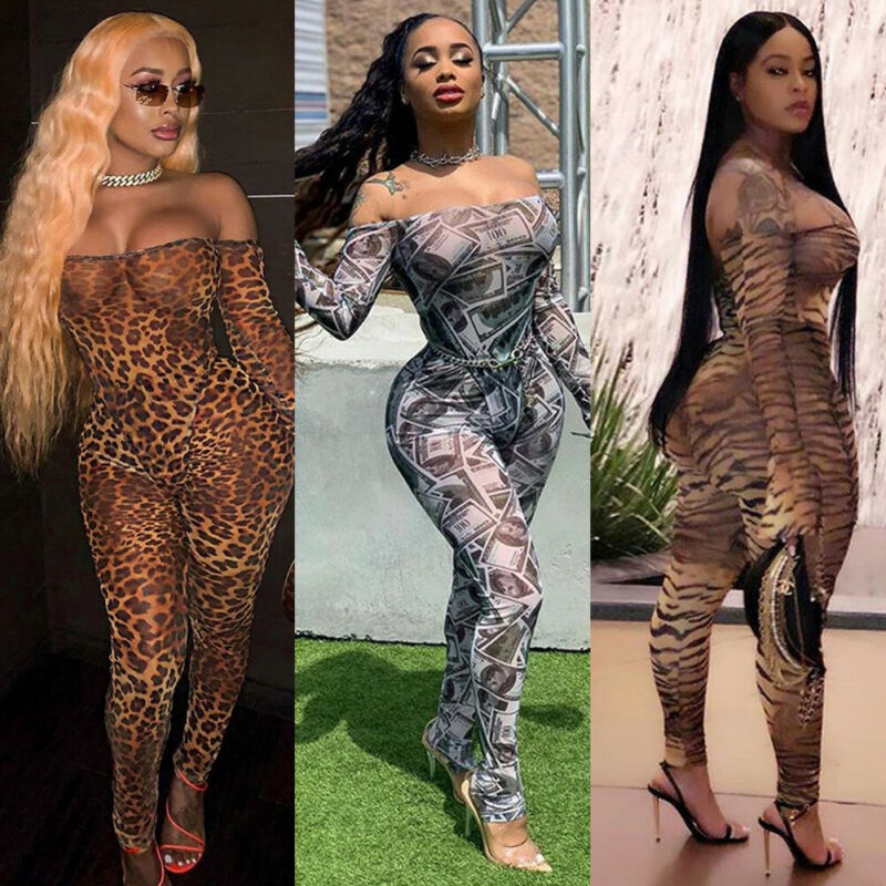 2019 Sexy Women Off Shoulder Long Sleeves Floral Casual Evening Party Jumpsuits Clubwear Slim Romper New