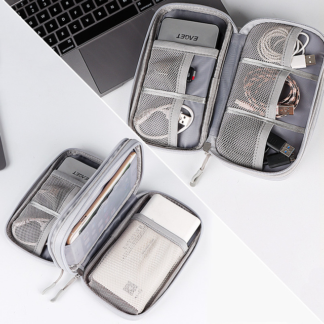 Portable Power Bank Bag USB Charger Gadgets Cables Wires Organizer Pouch Travel Electronic Accessories Protection Storage Case 6