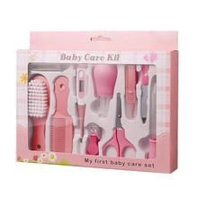 YOOAP Baby Grooming Kit 10pcs Newborn Nursery Health care Set Baby Nail Clipper File Scissor Tweezer Thermometer Brush Comb