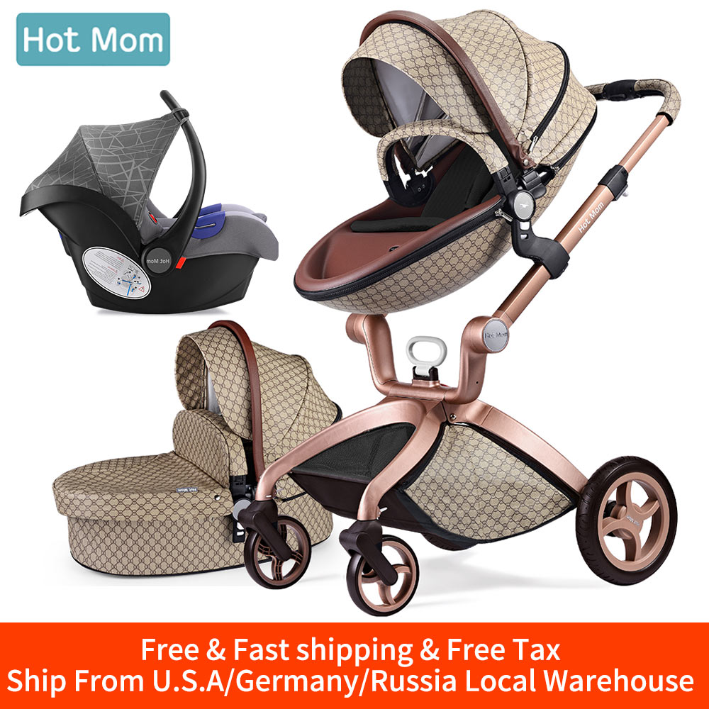 Baby Stroller 3 in 1,Hot Mom travel system High Land-scape stroller with bassinet in 2019 Folding Carriage for Newborns baby,F22 image