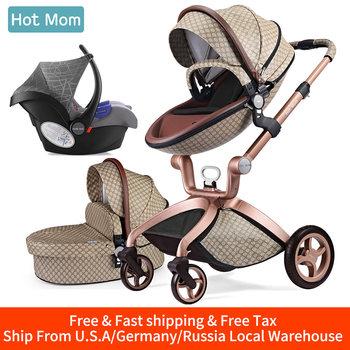 Wózek dziecięcy 3 w 1 Hot Mom system podróżniczy wózek High Land-scape z gondolą w 2019 składany wózek dla noworodków Baby F22 tanie i dobre opinie Numer certyfikatu 13-18 M 2-3Y 4-6 M 7-9 M 19-24 M 10-12 M 0-3 M F22-brown 2016012201904650 Astm 25 kg 0-36months