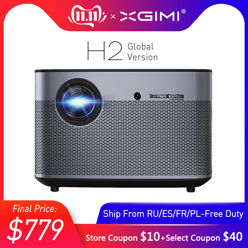 Xgimi h2 dlp projetor 1080 p hd completo 1350 ansi lumens 4 k projecteur 3d suporte android wifi bluetooth teatro em casa versão global