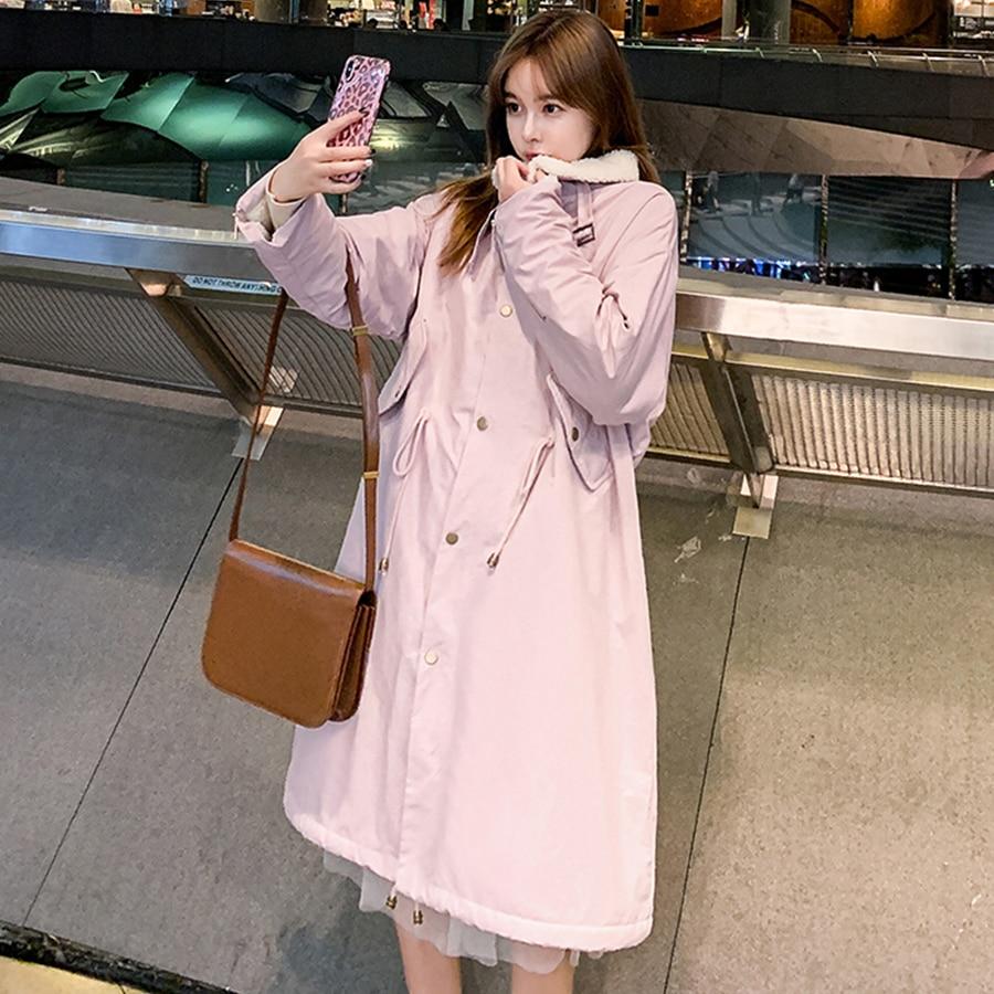 Long Lambswool Thicken Warm   Trench   Coats Women Korean Solid Single-breasted Loose Casaco Feminino Female Fashion Windbreaker New
