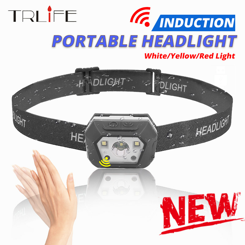 Strong Light Sensor Headlamp Motion USB Rechargeable Induction LED Headlight 8000lums Powerful Inductive Waterproof Head Lantern