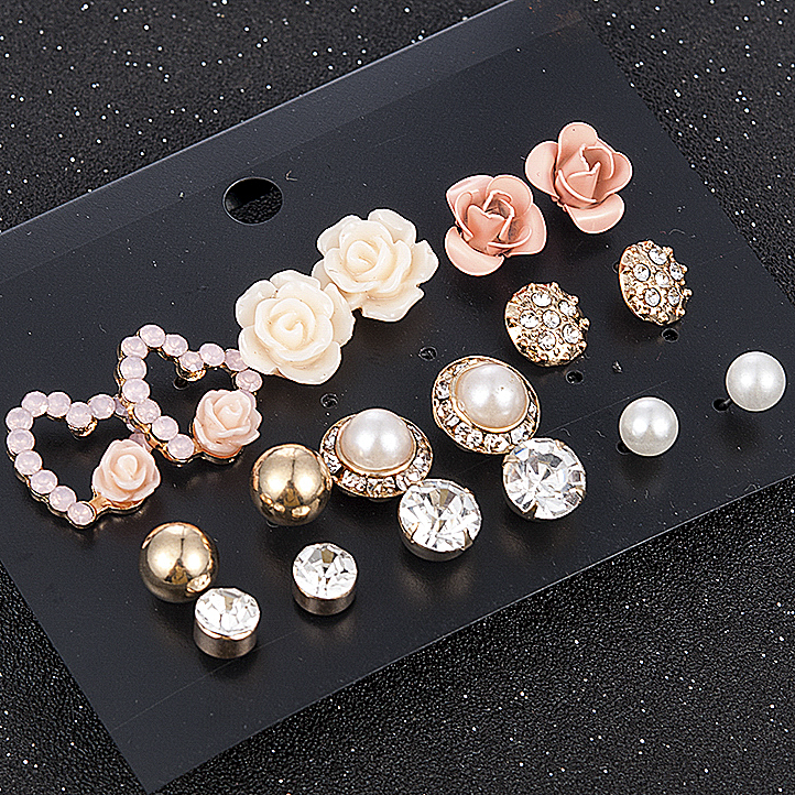 2019 New Fashion Women 9pair/set Flower Pearl Alloy Ear Earring Cute Crystal Wedding Jewelry Gifts For Girl korean fashion