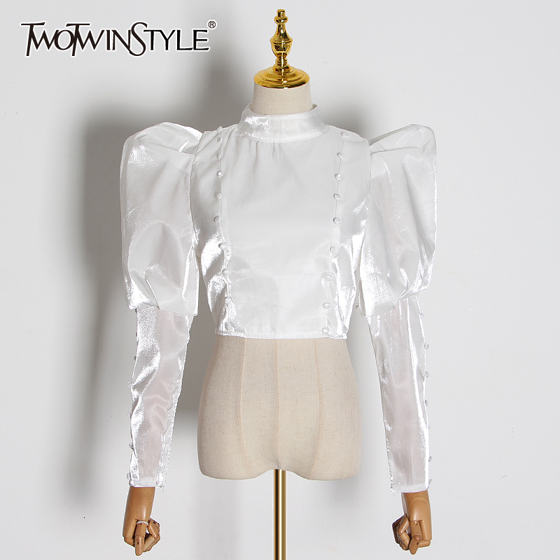 TWOTWINSTYLE Casual Ruched Silk Women's Blouses Stand Collar Puff Long Sleeve Short Shirts For Female Fashion 2020 Clothing Tide