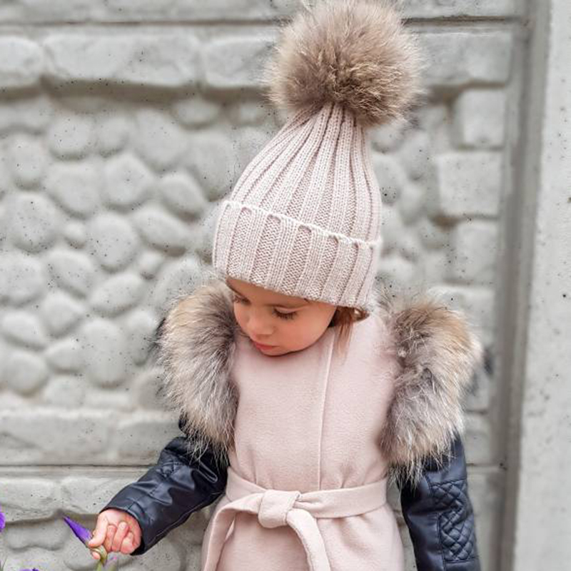 Big Fur Pom Pom Beanie Hats Kids Girls Boys Warm Knitted Winter Hat Baby Real Raccoon Fur Pompom Beanies Cap