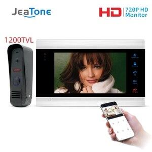 Image 1 - JeaTone 7 Cal WiFi inteligentny przewodowy System wideodomofonowy domofon telefoniczny z deszczownicą kamera ochrony dzwonek do drzwi wykrywanie ruchu