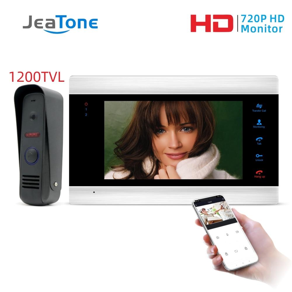 Jeatone 7 Polegada wifi inteligente com fio de entrada vídeo porta telefone intercom sistema com câmera segurança à prova chuva campainha da porta detecção movimento